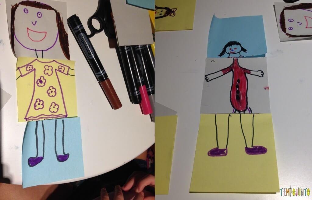Diversão com post-it - desenhos prontos das bonecas