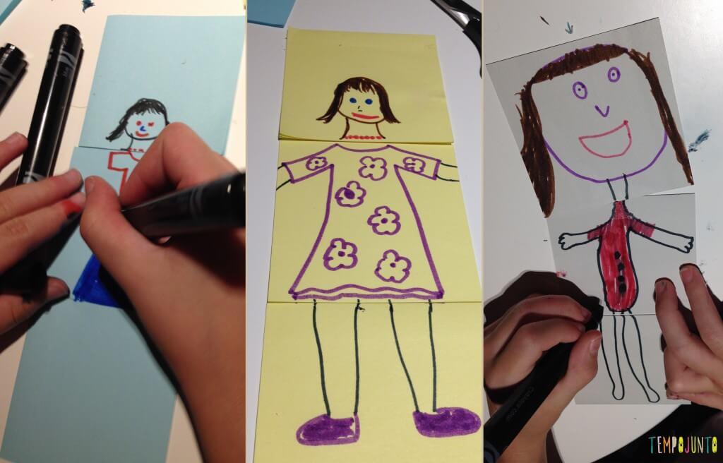Diversão com post-it - fazendo as bonecas