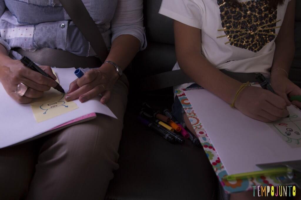Diversão com post-it - fazendo o desenho no carro