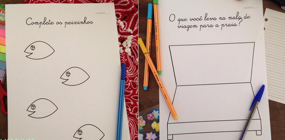 Atividades para a viagem - Desenho modelo