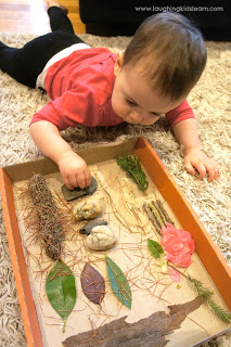Ideias de atividades com crianças usando a natureza - quadro sensorial
