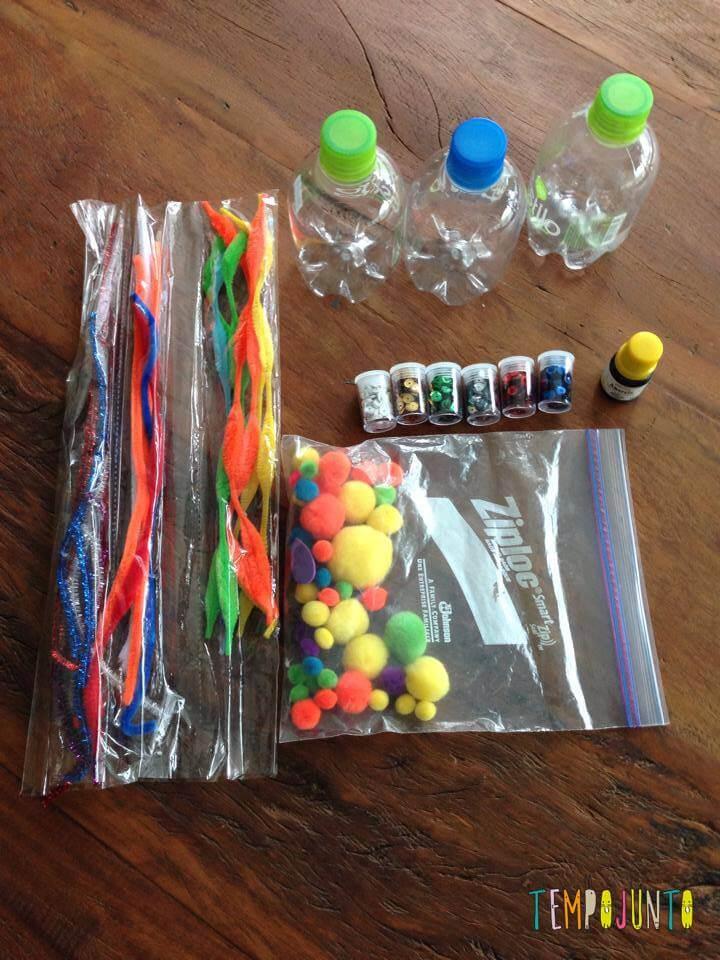 material para as garrafas sensoriais