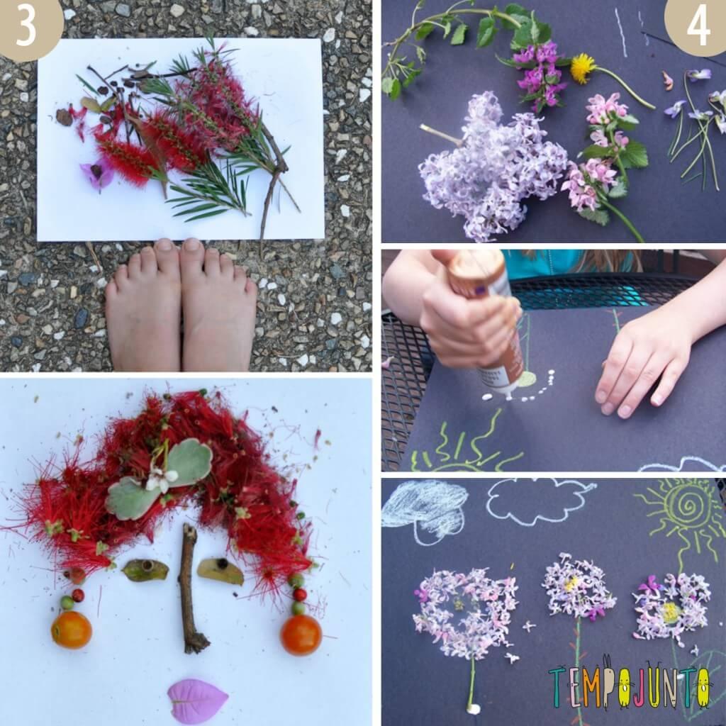 Rostos e desenhos com restos de flores