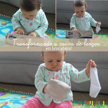 Descoberta sensorial para bebês com caixa de lenço e retalhos