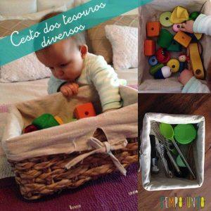 bebê brincando com cesto dos tesouros montessoriano