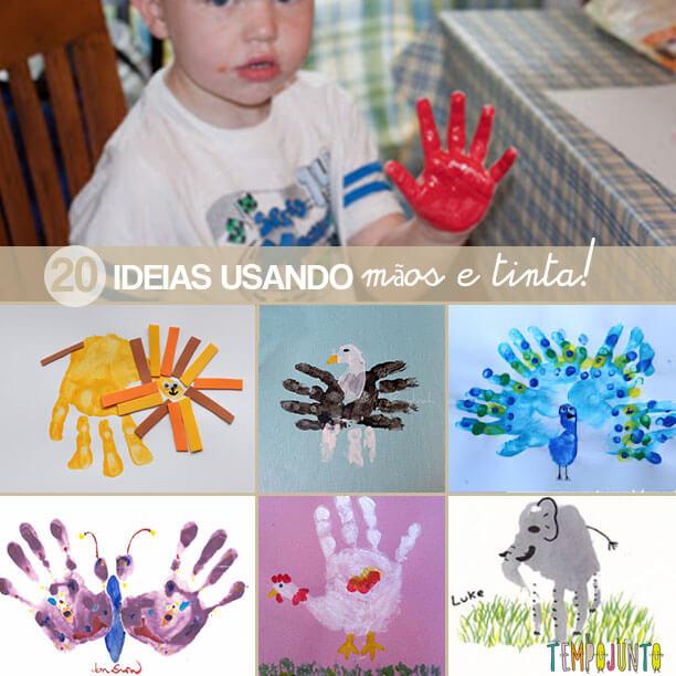 20 ideias de desenhos usando mãos e tinta