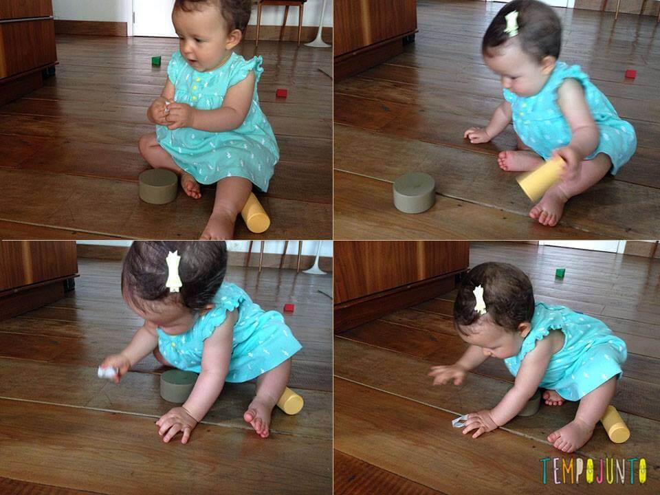 Gabi brinca com as formas e a fita adesiva