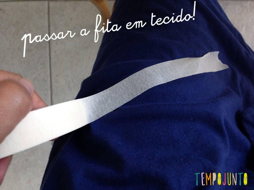 instrução para passar a fita crepe no tecido