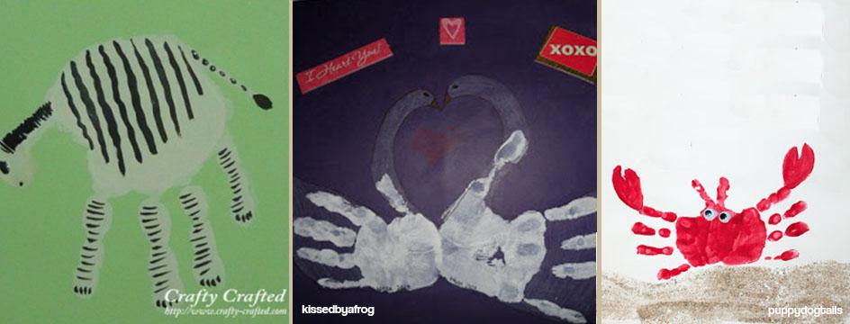 desenhos usando mãos e tinta zebra ganso e carangueijo