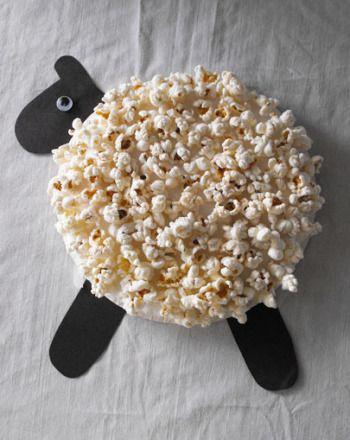 Pipoca como brincar de maneira criativa - ovelha de pipoca