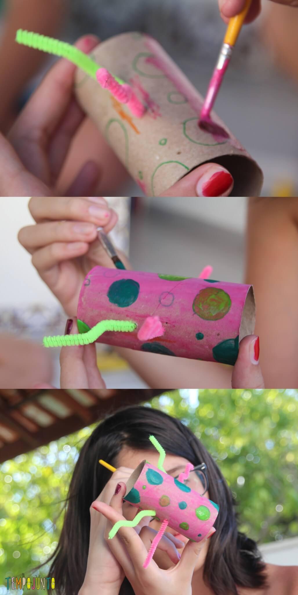 ideias criativas com rolo de papel higiênico - Vicky fazendo o monstro