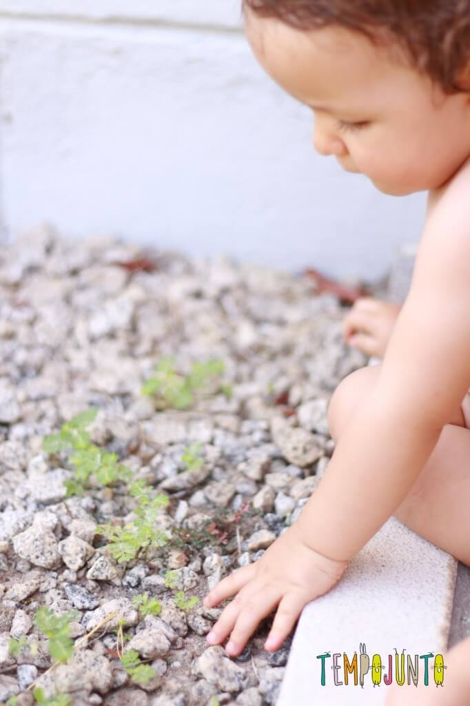 Verão em casa com um bebê de 1 ano - gabi com pedras