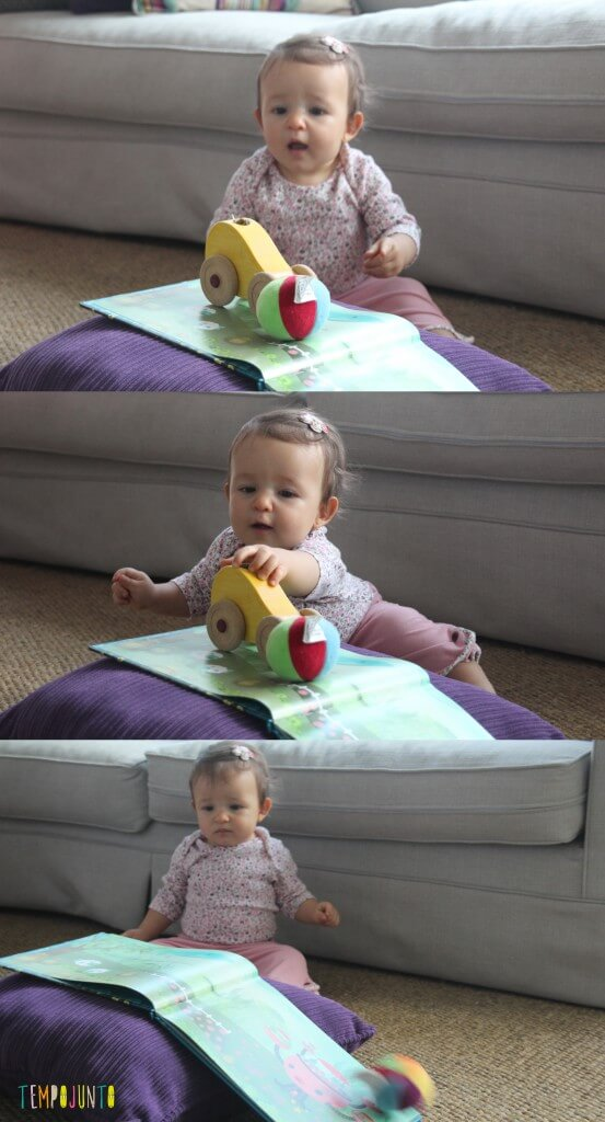 brinquedos do bebê de um jeito diferente - gabi observando a bola cair