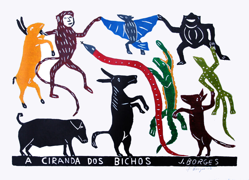 Ciranda dos Bichos - xilogravura de J.Borges