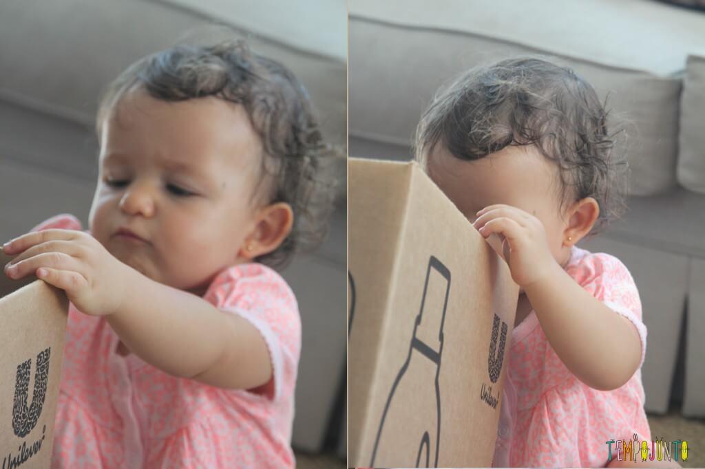 Brincadeira para bebês com bolas e caixas - Gabi descobre a caixa