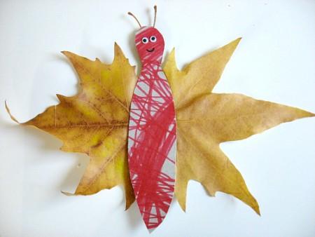 atividades com folhas secas - borboleta