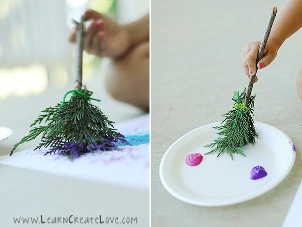 atividades com folhas secas - pincel natural de folha