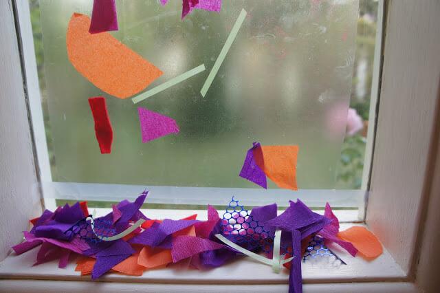 10 ideias criativas para brincar com papel contact - colagem com papel de seda