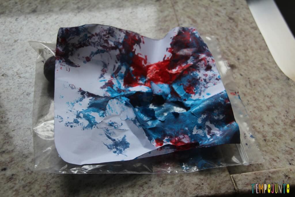 Pintura sem sujeira para bebês - resultado final