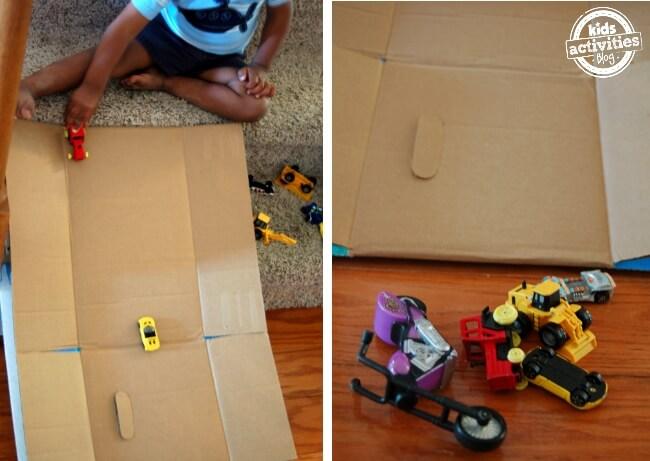 25 brincadeiras com caixa de papelão - rampa de carrinhos