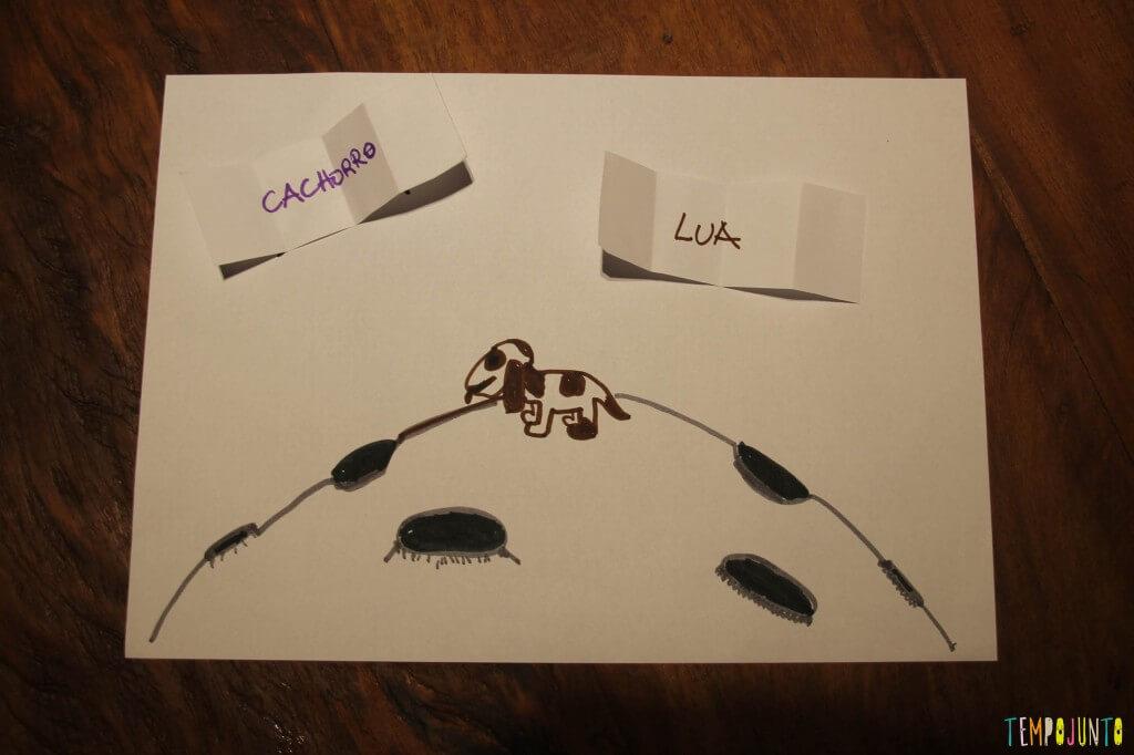 Como deixar a atividade de desenhar mais divertida - desenho cachorro na lua