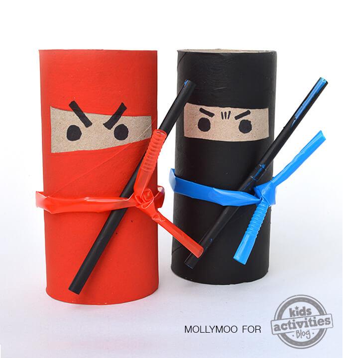 10 ideias criativas para fazer brinquedos com rolo de papel higiênico - ninjas