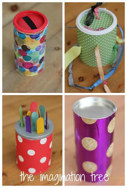 4 brinquedos para bebe usando lata