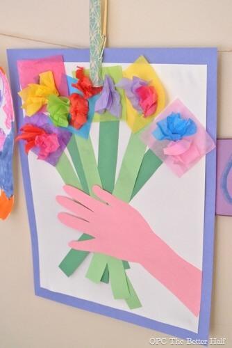 10 ideias criativas de cartão de Dia dos Avós feito pelas crianças - Buque de flores