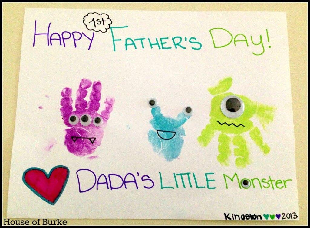 10 ideias criativas de cartão para o Dia dos Pais - pequenos monstros