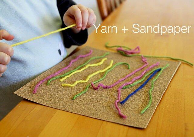 10 dicas de como brincar em silêncio - lã e lixa