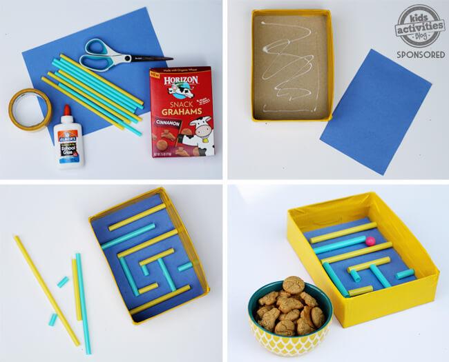 10 ideias de brincadeiras com canudo - laibrinto de canudo