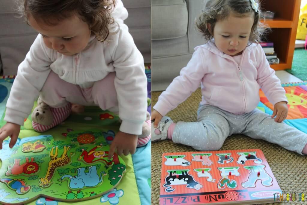 A hora de começar a brincar de quebra cabeças com os pequenos - resultado da brincadeira