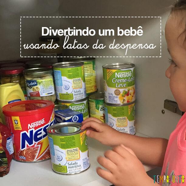 Atividade com latas da despensa para bebês