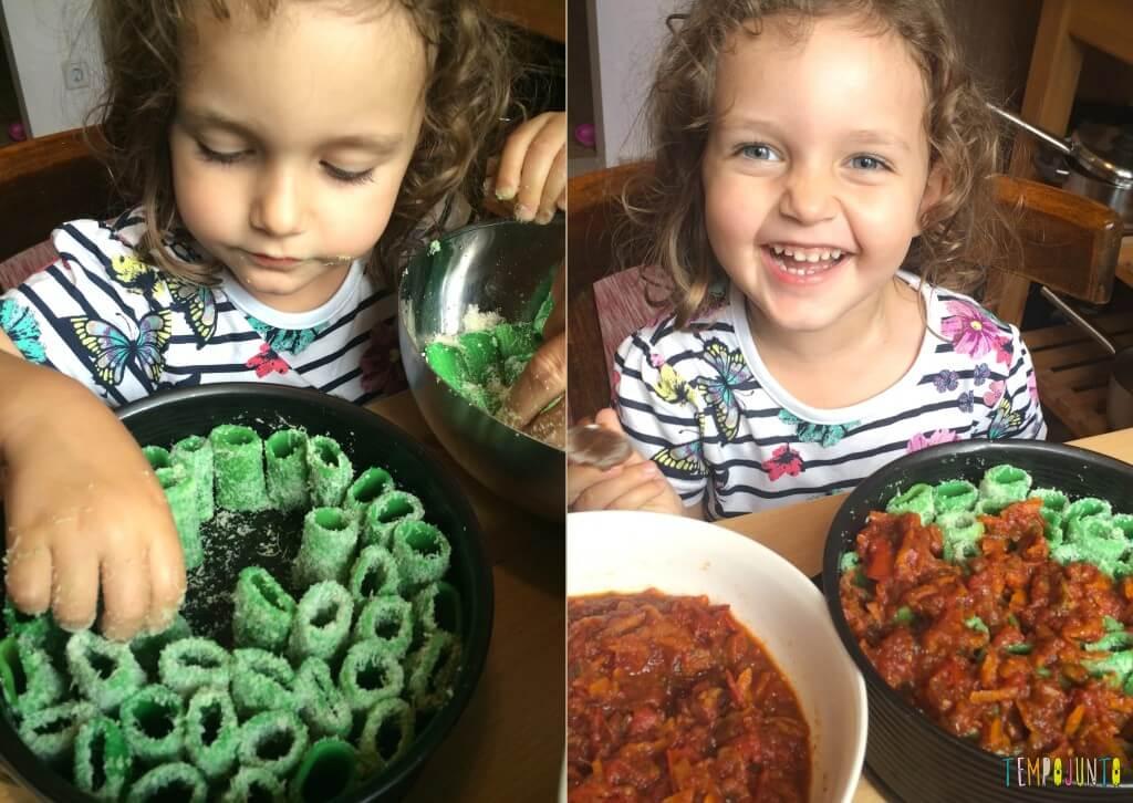 Brincando na cozinha - como criar uma Floresta Encantada dos Nutrientes com as crianças - quase pronto faltando o molho