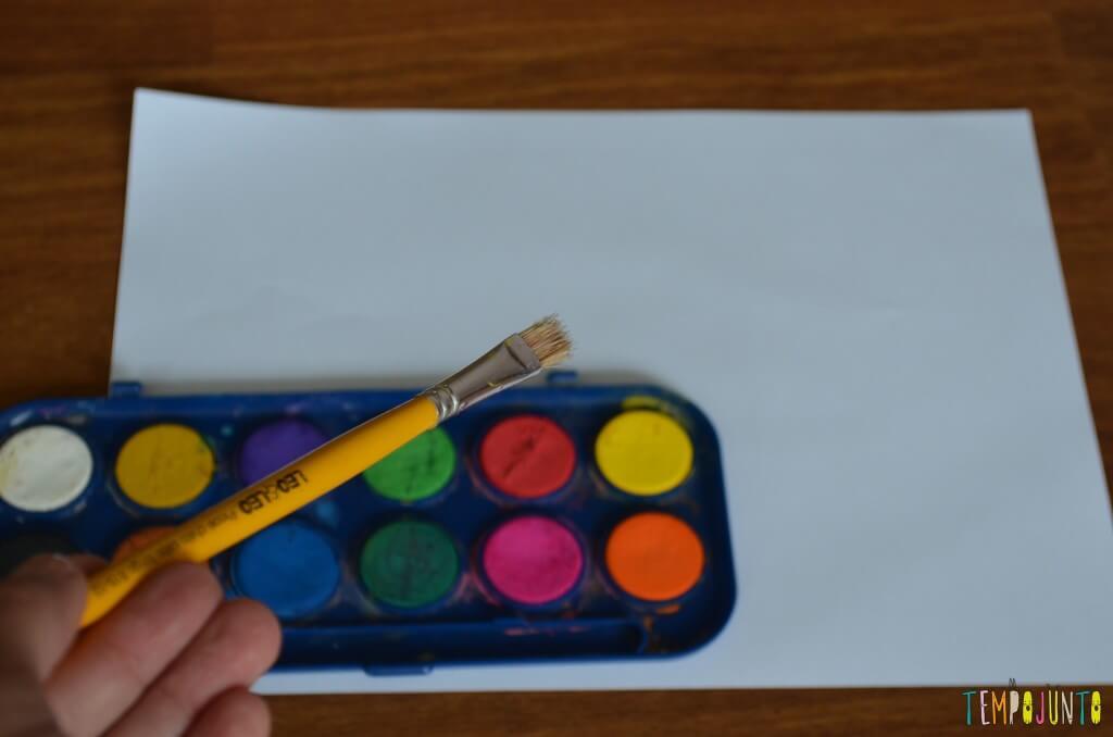 Pintura no papel amassado - material