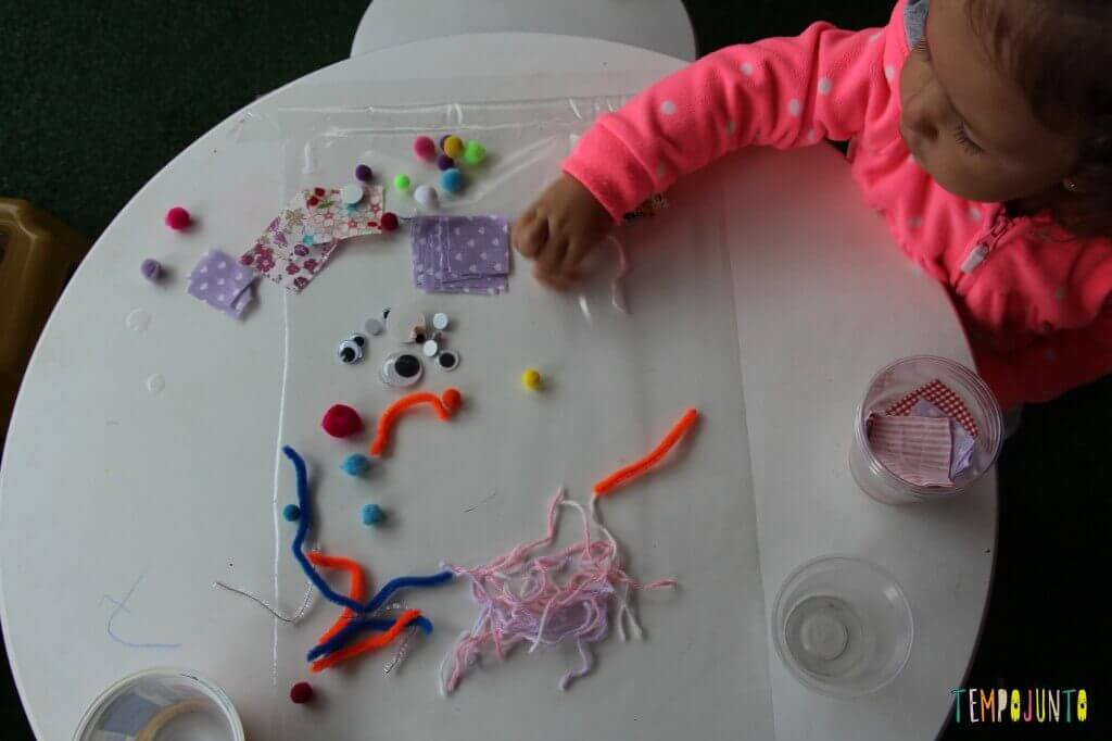 Arte para crianças pequenas - colagem no contact - resultado da arte com contact