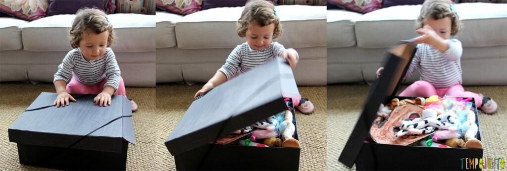 Cestos dos tesouros divertidos - descobrindo o que tem na caixa