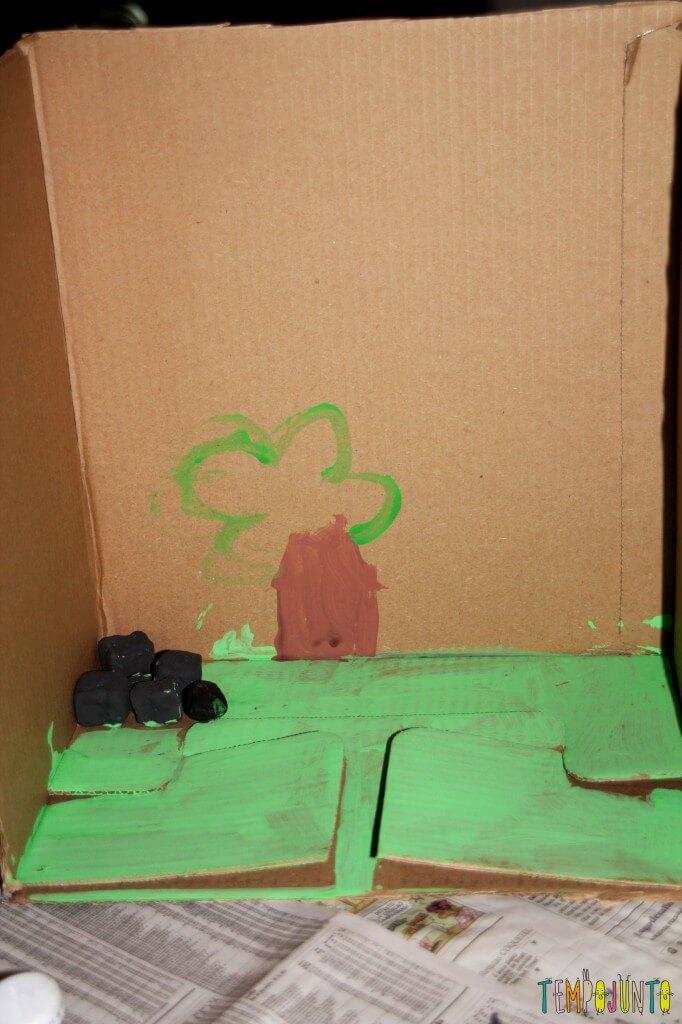Como fazer um cenário de papelão para a brincadeira de imaginação - pedras pretas