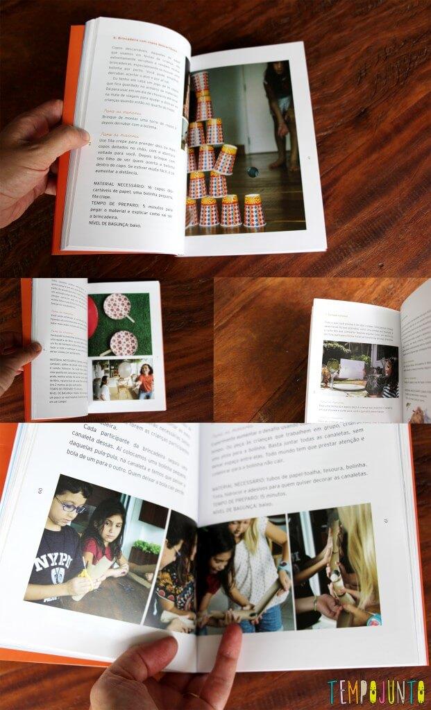 Conheça o livro Tempojunto – 100 brincadeiras incríveis para fazer com os filhos em qualquer lugar - mix fotos livro
