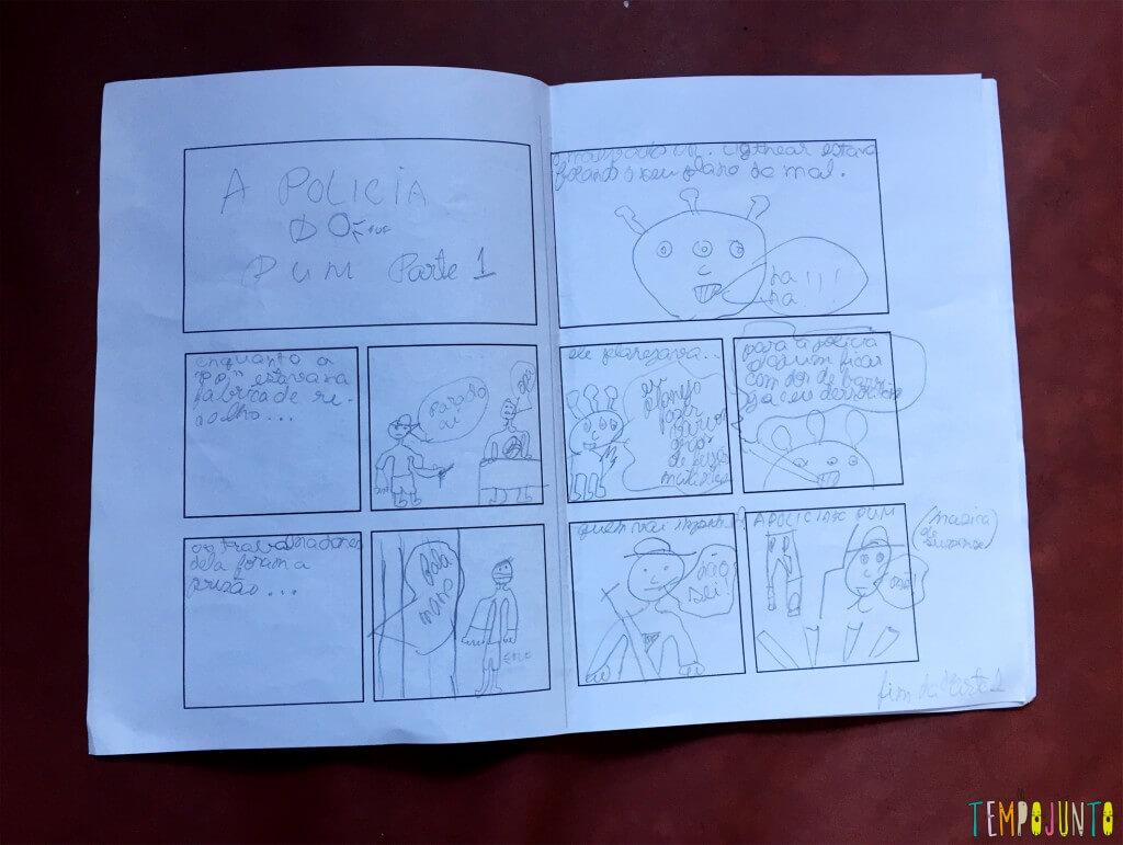 Como criar uma história em quadrinhos com as crianças - a policia do pum parte 1