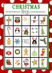 10 ideias de brincadeiras de Natal - bingo de Natal