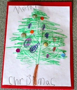 20 cartões de natal criativos para fazer com os filhos - arvore de folhas