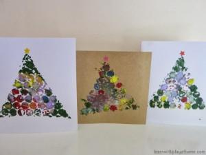 20 cartões de natal criativos para fazer com os filhos - arvore de plastico bolha