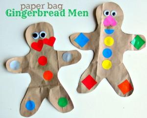 20 cartões de natal criativos para fazer com os filhos - boneco de biscoito sacola de papel