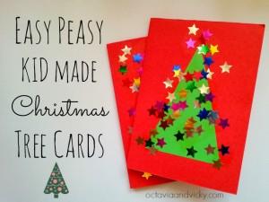20 cartões de natal criativos para fazer com os filhos - cartao arvore com estrelinhas