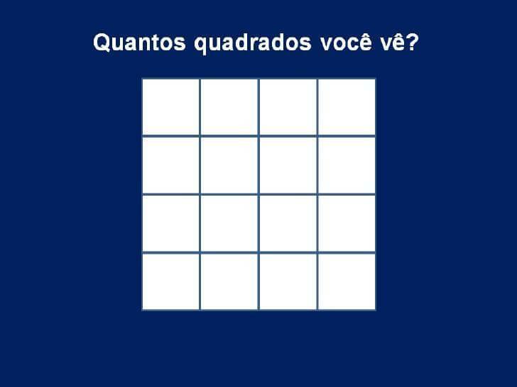 Brincadeira com perguntas pegadinhas de raciocínio - quadrado