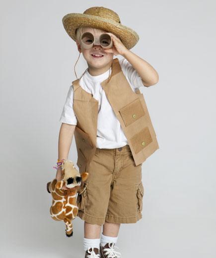 10 fantasias de última hora para as crianças - menino do safari