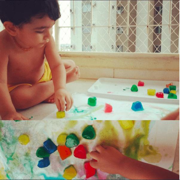10 ideias de brincadeiras para fazer com gelo - Pintura com gelo