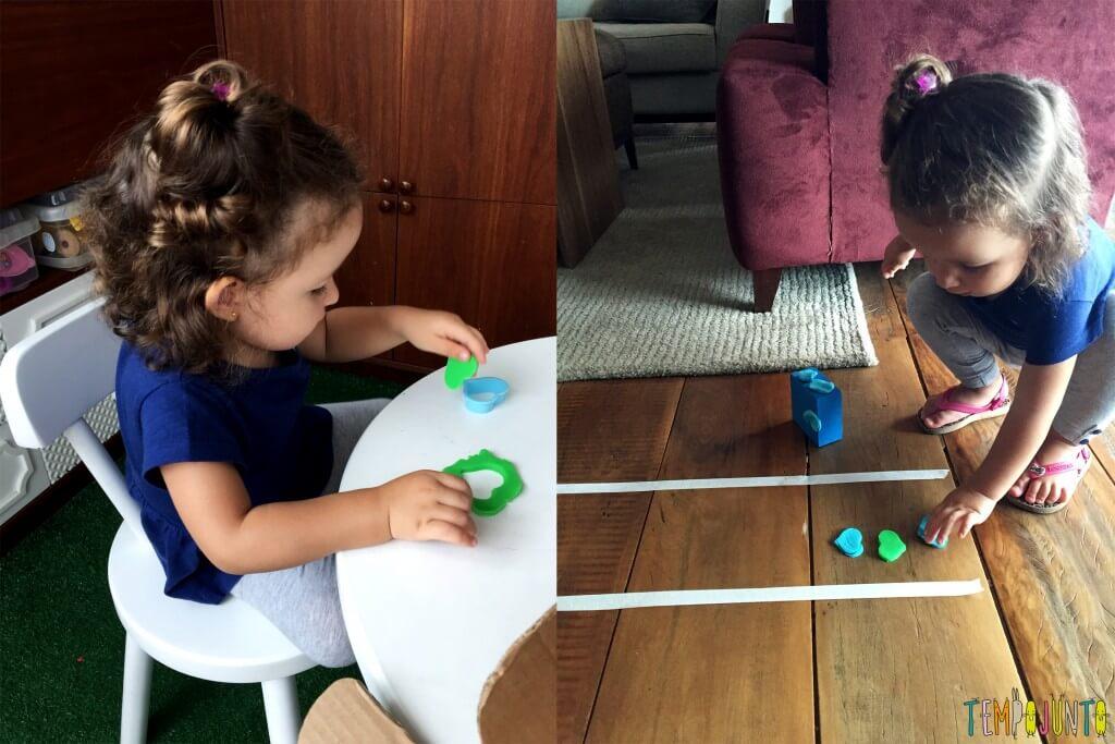 Brincadeira para crianças de 2 anos - gabi brincando com o coraçao na pista