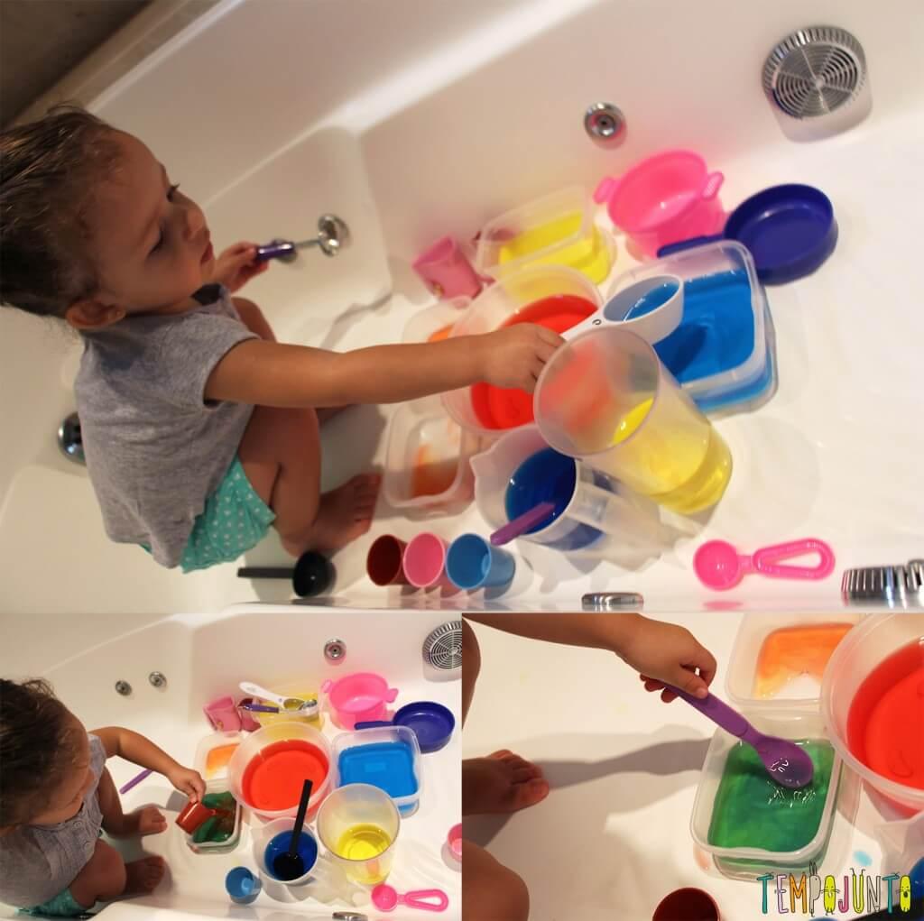 Uma atividade com água colorida que vai fazer a alegria dos pequenos - gabi com colheres diferentes